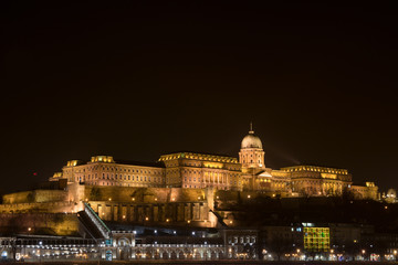 Palace and Royal Castle in Budapest Hungary at night
