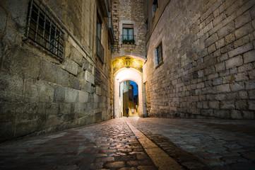 Girona at night, Catalonia, Spain