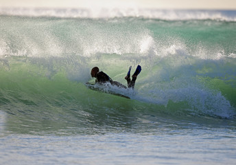 bodyboarder in der welle