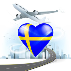 travel and transport concept with Sweden flag on heart