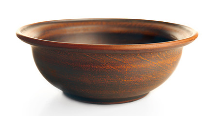 Clay bowl isolated on white