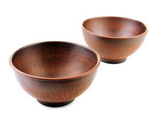 Clay bowls isolated on white
