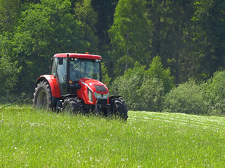 red tractor mows the grass
