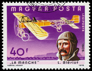 Stamp printed in Hungary shows L. Bleriot