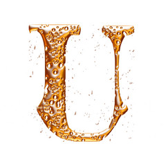 Golden alphabet letter U on white background