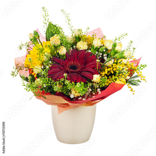 Beautiful bouquet of gerbera, carnations and other flowers in va