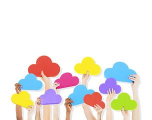 Diversity Hands Cloud Data Icons Ideas Concept