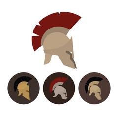 Set of four antique helmets, vector illustration