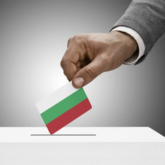Black male holding flag. Voting concept - Bulgaria