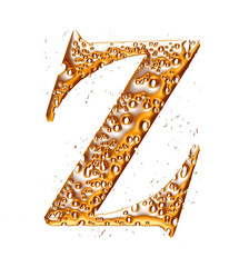 Golden alphabet letter Z on white background