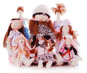 Handmade dolls isolated on white