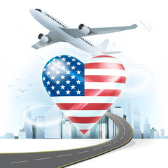 travel and transport concept with USA flag on heart