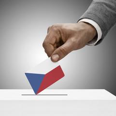 Black male holding flag. Voting concept - Czech Republic