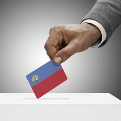 Black male holding flag. Voting concept - Liechtenstein