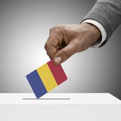 Black male holding flag. Voting concept - Romania