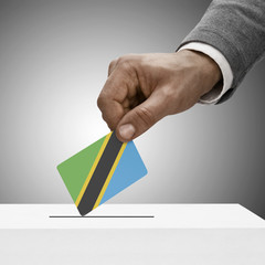 Black male holding flag. Voting concept - Tanzania
