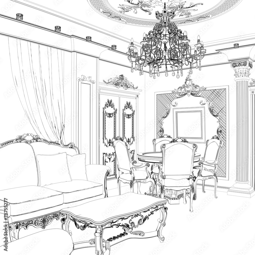 Sketch Of Living Room Dining Area Classic Chairs And Table Wall ...