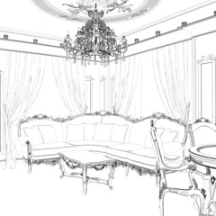 Sketch of the living room with sofa, frames and coffee table