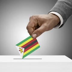 Black male holding flag. Voting concept - Zimbabwe