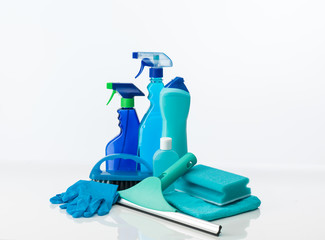 blue cleaning tools