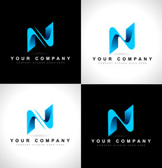 Abstract letter N logo design