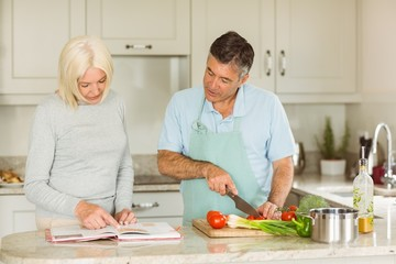 Happy mature couple following a vegetarian recipe