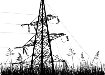 black  electric pylon in grass isolated on white