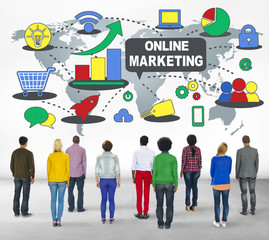 Online Marketing Branding Global Communication Analyzing Concept