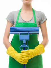 cleaning lady with mop