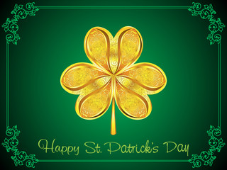 abstract artistic golden st patrick clover background
