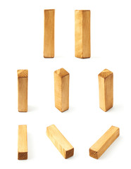 Set of eight block wooden letters isolated