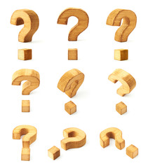 Set of nine question marks isolated