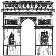 France. Paris. the arc de Triomphe on a white background. sketch