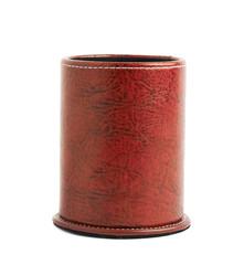 Red leather pen holder cylinder