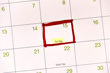 Calendar with a red box around April 15th