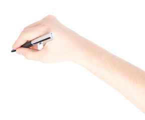 Male hand holding a pen