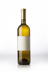 Wine bottle on the white background.