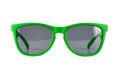 Green sun glasses isolated