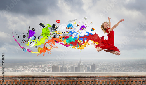 canvas print picture Jumping woman