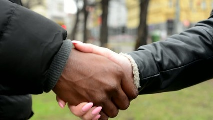 The couple shake hands - black man shake hands with asian woman