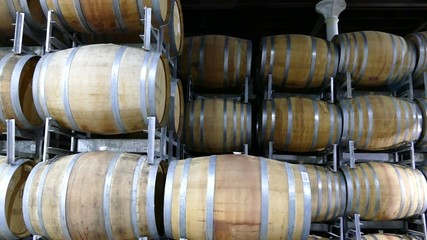 Aging Wine Barrels in Storage