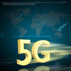 Symbol of Gold 5G speed internet on Digital background