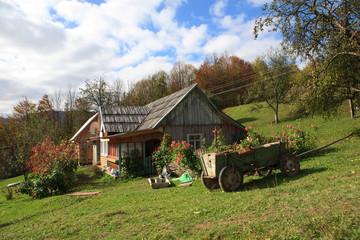 Traditional house in the Ukrainian Carpathians