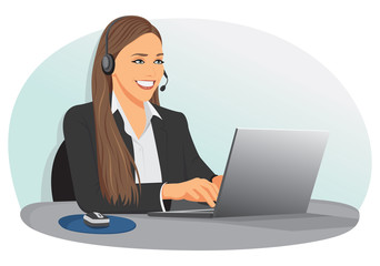 Smiling support center operator with headset sitting at office