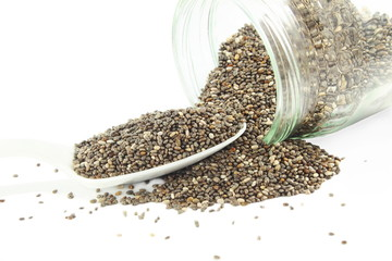 chia seeds with bottle and spoon closeup in white background