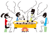 鍋を囲んで食事する人々