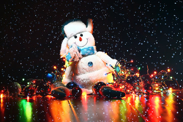 toy snowman christmas new year interior