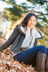 Young Asian woman in autumn portrait