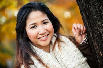 Asian woman in autumn portrait