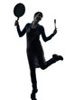 woman happy cooking holding frying pan silhouette